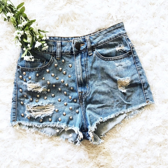Urban Outfitters Pants - UO BDG High Rise Cheeky Studded Distressed Shorts
